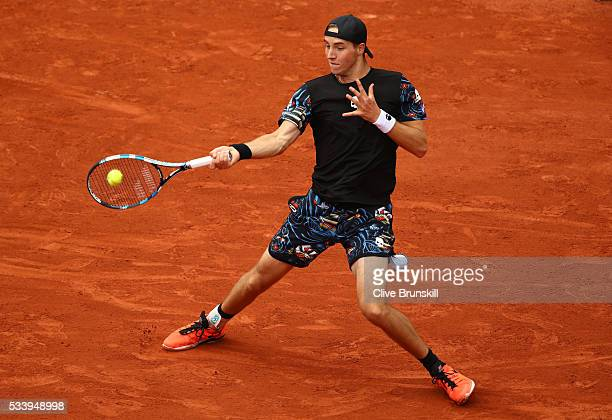 JanLennard Struff of Germany plays a forehand during the Men's Singles first round match against JoWilfried Tsonga of France on day three of the 2016...