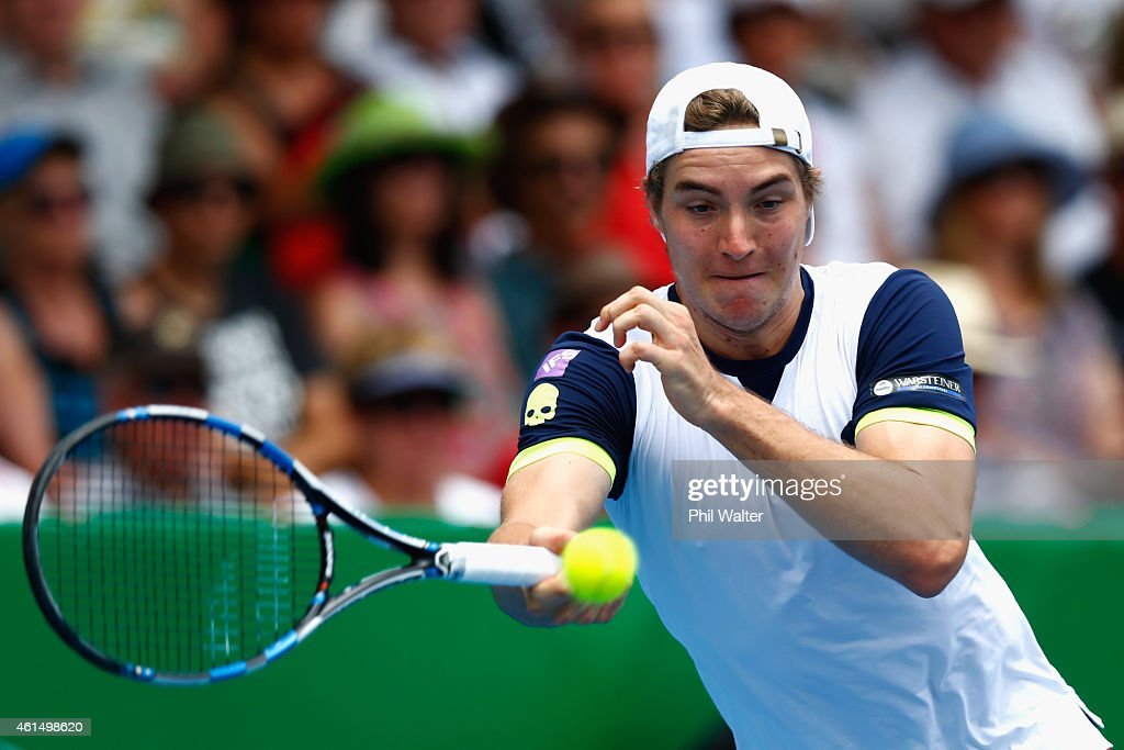 Jan-Lennard Struff of Germany plays a forehand in his singles match against Kevin Anderson of South Africa during day three of the 2015 Heineken Open Classic at the Auckland Tennis Centre on January 14, 2015 in Auckland, New Zealand.