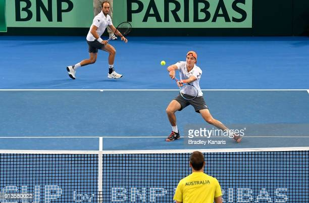 JanLennard Struff of Germany plays a shot in the doubles match with Tim Putz against Matt Ebden and John Peers of Australia during the Davis Cup...