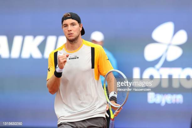 Jan-lennard Struff of Germany reacts during his semi final match against Ilya Ivashka of Belarus on day 8 of the BMW Open at MTTC IPHITOS on May 01,...