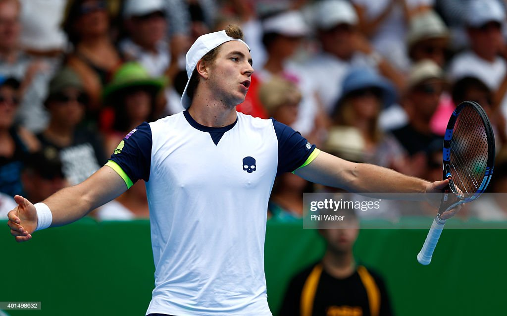 Jan-Lennard Struff of Germany reacts in his singles match against Kevin Anderson of South Africa during day three of the 2015 Heineken Open Classic at the Auckland Tennis Centre on January 14, 2015 in Auckland, New Zealand.