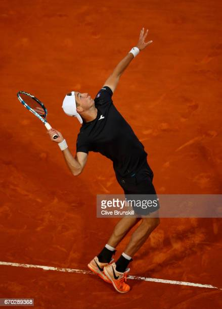 JanLennard Struff of Germany serves against Grigor Dimitrov of Bulgaria in his second round match on day four of the Monte Carlo Rolex Masters at...