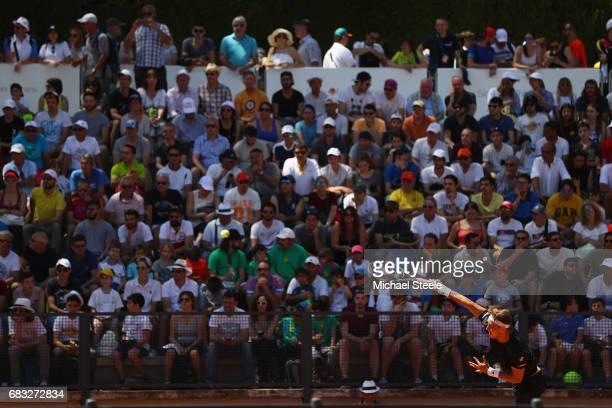 JanLennard Struff of Germany serves during his match against Bernard Tomic of Australia on Day Two of The Internazionali BNL d'Italia 2017 at the...