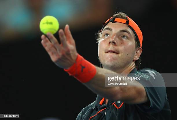 JanLennard Struff of Germany serves in his second round match against Roger Federer of Switzerland on day four of the 2018 Australian Open at...