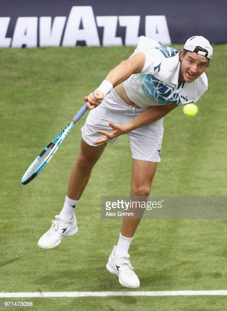 JanLennard Struff of Germany serves the ball to Rudolf Molleker of Germany during day 1 of the Mercedes Cup at Tennisclub Weissenhof on June 11 2018...