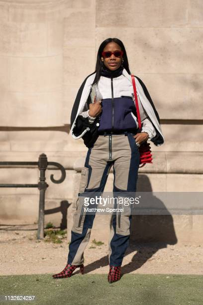 Jan-Michael Quammie is seen on the street attending Unravel Project during Paris Fashion Week AW19 wearing Unravel Project on February 27, 2019 in...