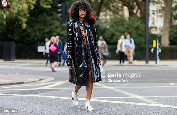 JanMichael Quammie wearing a rain coat outside during London Fashion Week Spring/Summer collections 2017 on September 19 2016 in London United Kingdom