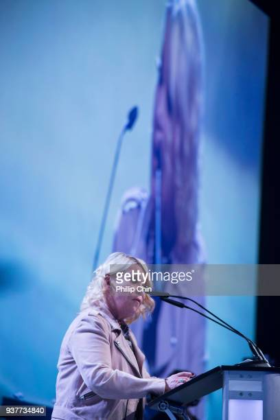 Jann Arden introduces Denise Donlon for the Walt Grealis Special Achievement Award at the Juno Gala Dinner and Awards at the Vancouver Convention...