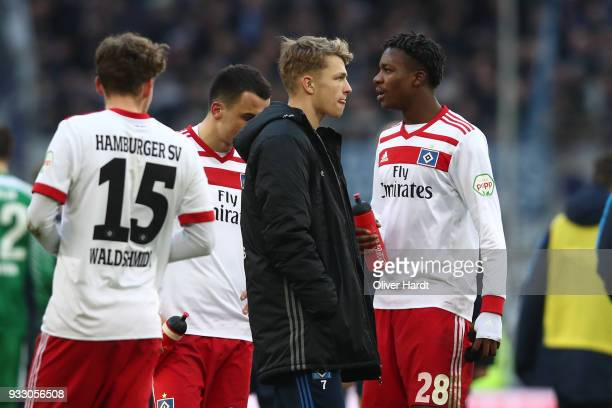 Jann Fiete Arp of Hamburg appears frustrated after the Bundesliga match between Hamburger SV and Hertha BSC at Volksparkstadion on March 17 2018 in...
