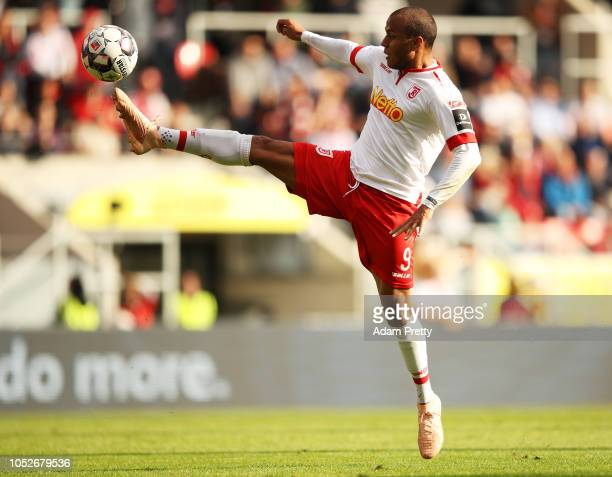 Jann George of Jahn Regensburg in action during the Second Bundesliga match between SSV Jahn Regensburg and SV Darmstadt 98 at Continental Arena on...
