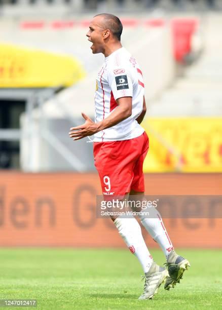 Jann George of Regensburg celebrates his team's second goal during the Second Bundesliga match between SSV Jahn Regensburg and SV Darmstadt 98 at...