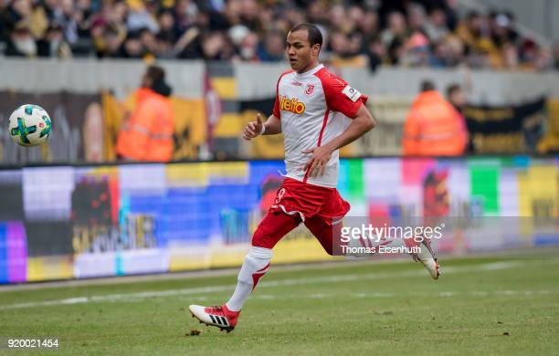 Jann George of Regensburg plays the ball during the Second Bundesliga match between SG Dynamo Dresden and SSV Jahn Regensburg at DDVStadion on...