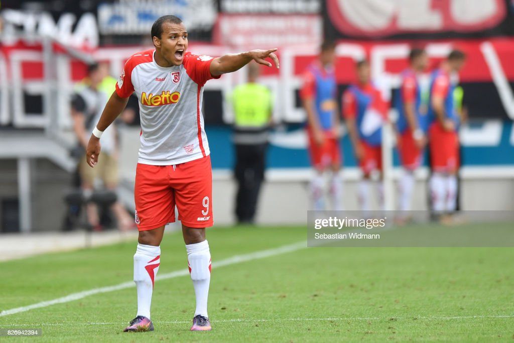 Jann George of SSV Jahn Regensburg gestures during the Second Bundesliga match between SSV Jahn Regensburg and 1. FC Nuernberg at Continental Arena on August 6, 2017 in Regensburg, Germany.
