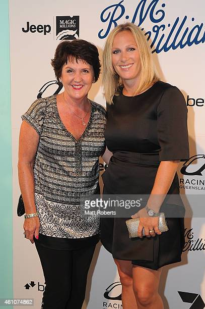 Jann Stuckey and Zara Phillips attend the Opening night event for Magic Millions Raceday on January 6, 2015 on the Gold Coast, Australia.