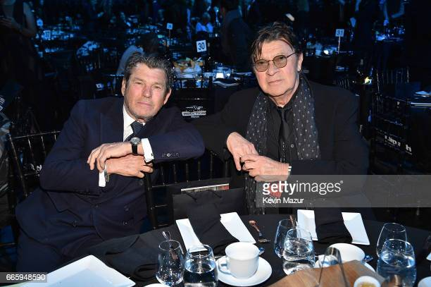 Jann Wenner and Robbie Robertson attend 32nd Annual Rock Roll Hall Of Fame Induction Ceremony at Barclays Center on April 7 2017 in New York City The...