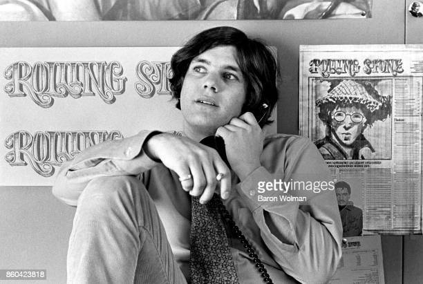 Jann Wenner founder and publisher of Rolling Stone magazine on the phone in the magazine's offices in San Francisco 1968