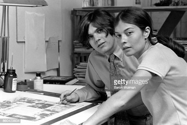 Jann Wenner founder and publisher of Rolling Stone magazine with wife Jane Wenner in the magazine's offices in San Francisco 1968