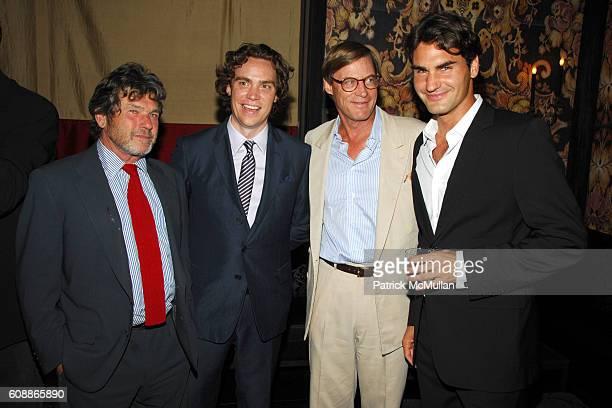 Jann Wenner Jay Fielden Shelby Bryan and Roger Federer attend Men's Vogue Dinner in Honor of Roger Federer at Wakiya on August 23 2007 in New York...