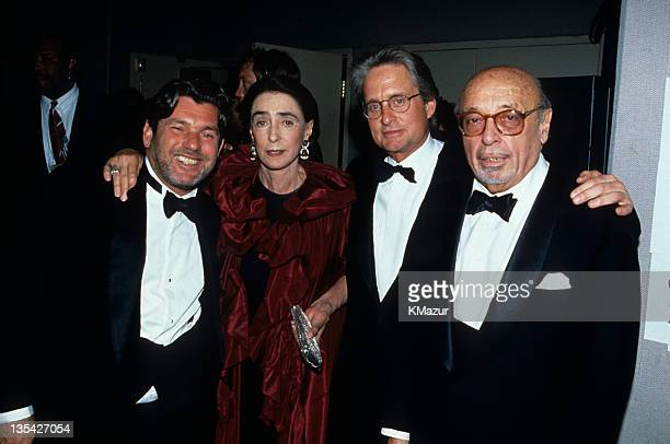 Jann Wenner, Mica Ertegun, Michael Douglas and Ahmet Ertegun at the 12th Annual Rock & Roll Hall of Fame Induction ceremony on May 9, 1997.
