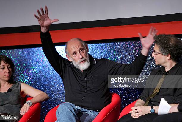 Janna Levin Leonardo Susskind and Peter Galison attend the Beyond Einstein Panel at the Eisner Lubin Auditorium at New York University at the World...
