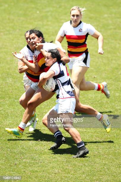 Janna Vaughan of Auckland charges forward against Waikato during the TECT National Sevens tournament at Tauranga Domain on December 16 2018 in...