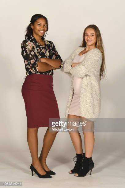 Jannah Tucker and Adrianna Hahn of the Villanova Wildcats pose for pictures during Big East Media Day at Madison Square Garden on October 25 2018 in...