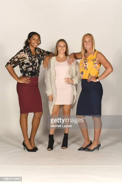 Jannah Tucker Grace Stant and Adrianna Hahn of the villanova Wildcats poses for pictures during Big East Media Day at Madison Square Garden on...