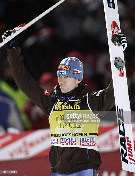 Janne Ahonen from Finland celebrates his victory in the FIS skijumping World cup final round of the Four Hills Tournament in Bischofshofen 06 January...