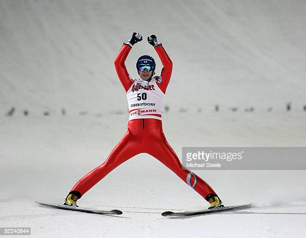 Janne Ahonen of Finland celebrates winning gold in the FIS Nordic World Ski Championships Men's HS 137 Individual Large Hill at the Allgau Arena on...