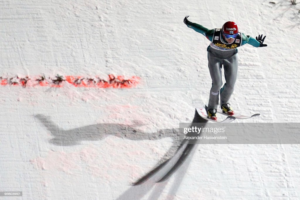 Janne Ahonen of Finland competes at first round for the FIS Ski Jumping World Cup event of the 58th Four Hills ski jumping tournament on January 6, 2010 in Bischofshofen, Austria.