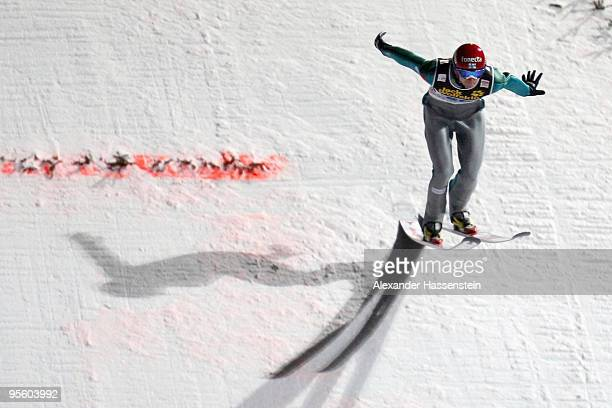 Janne Ahonen of Finland competes at first round for the FIS Ski Jumping World Cup event of the 58th Four Hills ski jumping tournament on January 6,...