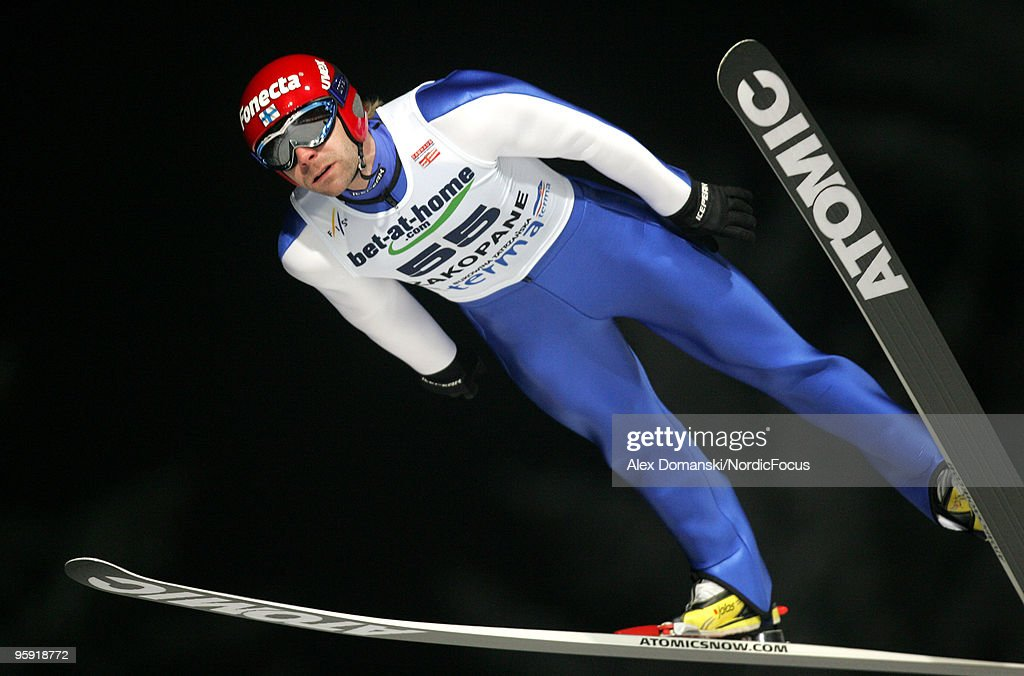 Janne Ahonen of Finland competes during the qualification round in the FIS Ski Jumping World Cup on January 21, 2010 in Zakopane, Poland.