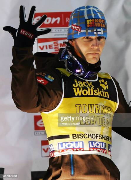 Janne Ahonen of Finland shows a five for his fith victory of the Tournee after the fourth round of the FIS Ski Jumping World Cup event at the 56th...