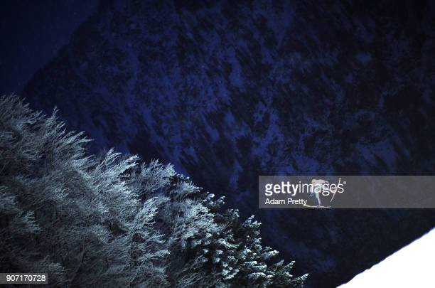 Janne Ahonen of Finland soars through the air during his first competition jump of the Ski Flying World Championships on January 19 2018 in...