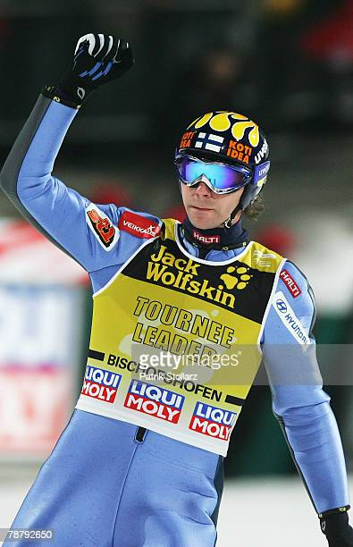 Janne Ahonen of Finnland celebrates during the fourth round of the FIS Ski Jumping World Cup event at the 56th Four Hills Ski Jumping Tournament on...
