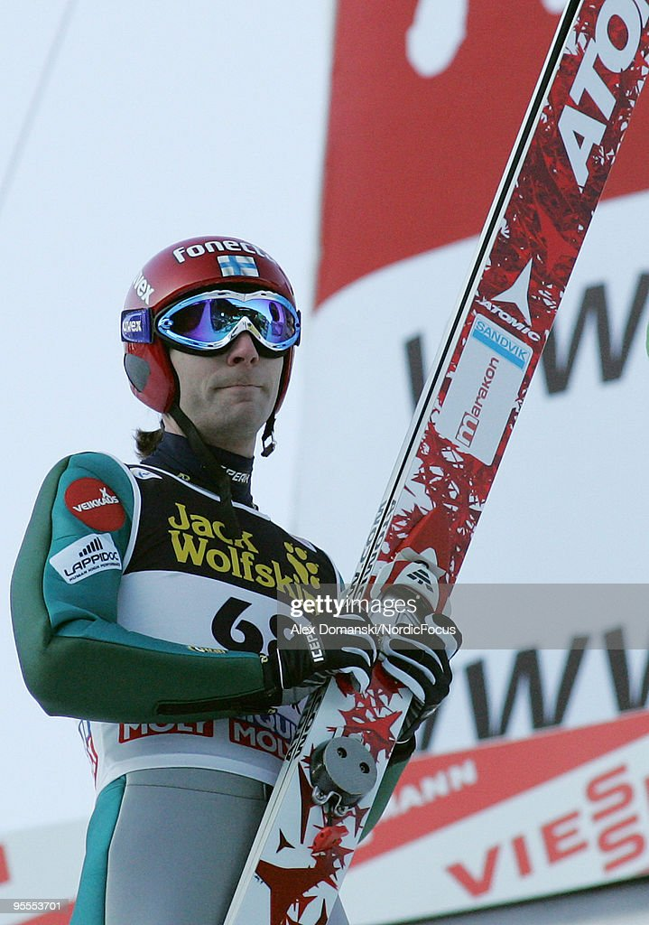 Janne Ahonen reacts after the final jump during the FIS Ski Jumping World Cup event of the 58th Four Hills ski jumping tournament on January 3, 2010 in Innsbruck, Austria.