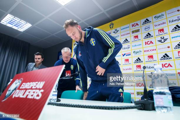 Janne Andersson head coach of Sweden and Andreas Granqvist of Sweden during a press conference ahead of the FIFA 2018 World Cup Qualifier PlayOff...
