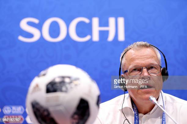 Janne Andersson Head coach of Sweden attends the post mactch press conference followingthe 2018 FIFA World Cup Russia group F match between Germany...
