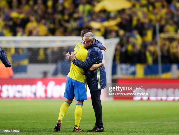 Janne Andersson head coach of Sweden celebrates after the victory during the FIFA 2018 World Cup Qualifier between Sweden and Luxembourg at Friends...