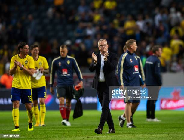 Janne Andersson head coach of Sweden cheers to the fans after the International Friendly match between Sweden and Denmark at Friends Arena on June 2...