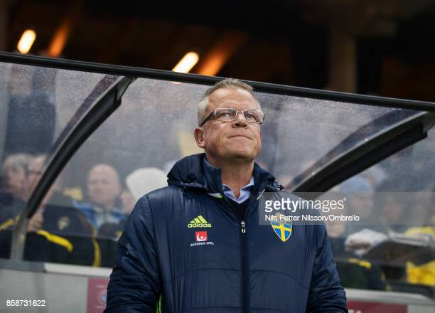 Janne Andersson head coach of Sweden during the FIFA 2018 World Cup Qualifier between Sweden and Luxembourg at Friends Arena on October 7 2017 in...