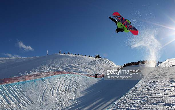 Janne Korpi of Finland competes in the Men's Snowboard Halfpipe during day five of the Winter Games NZ at Cardrona Alpine Resort on August 26 2009 in...