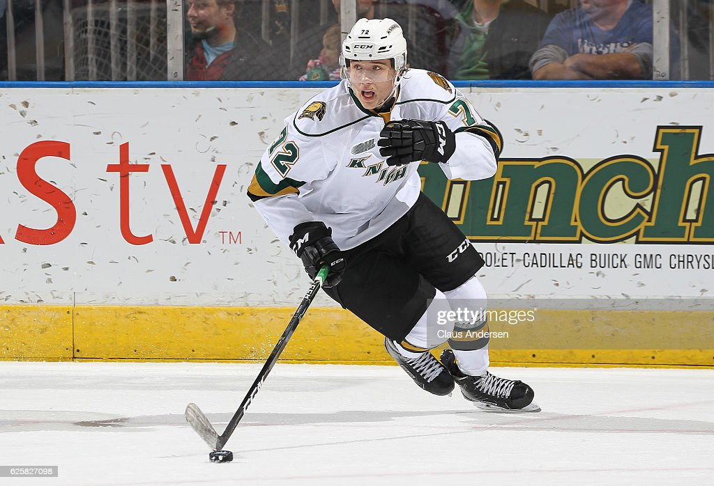 Janne Koukkanen #72 of the London Knights skates with the puck against the Barrie Colts during an OHL game at Budweiser Gardens on November 25, 2016 in London, Ontario, Canada. The Knights defeated the Colts 4-1.