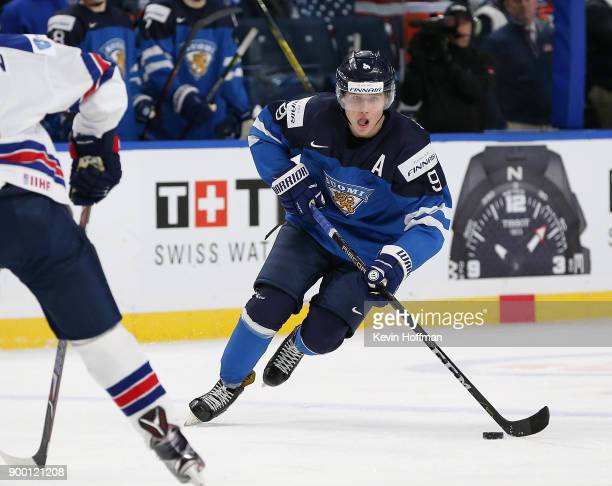 Janne Kuokkanen of Finland in the second period against the United States during the IIHF World Junior Championship at KeyBank Center on December 31...