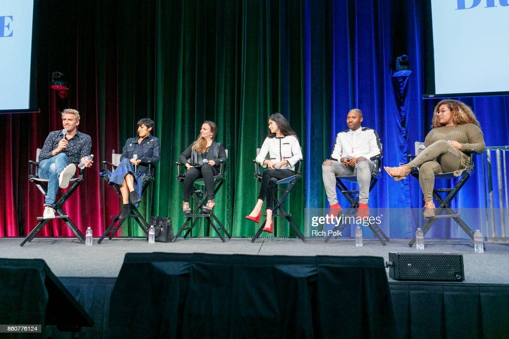 Janne Kyttanen; Nina Walia, Dalia MacPhee, Nina Vir, Ishmael Mayhew and Bria Sullivan pose for a photo on stage at Google CS+X Series: Dress Code at Google Los Angeles Office on October 12, 2017 in Venice, California.