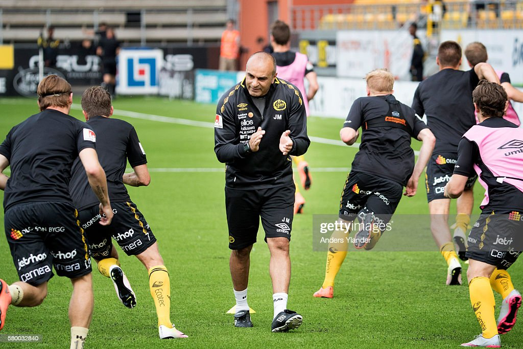 Janne Mian, assistant coach of IF Elfsborg during warm-up priorduring the Allsvenskan match between IF Elfsborg and Ostersunds FK at Boras Arena on July 25, 2016 in Boras, Sweden.