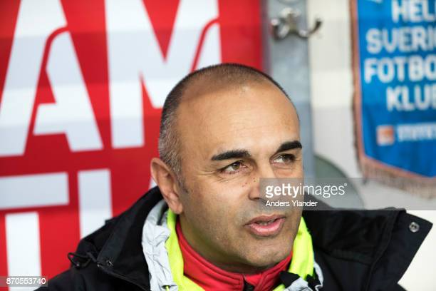 Janne Mian head coach of IF Elfsborg look on prior to the Allsvenskan match between IF Elfsborg and IFK Norrkoping at Boras Arena on November 5 2017...