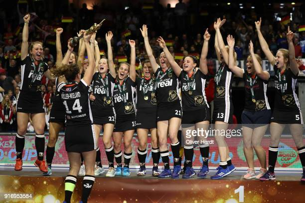 Janne Mueller Wieland and the Team of Germany celebrate with the trophy after the Women Gold Medal Indoor Hockey World Cup Berlin Final Day match...