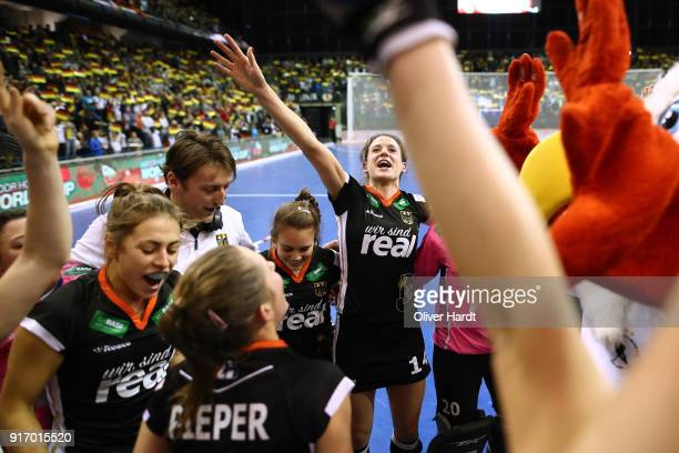 Janne Mueller Wieland of Germany celebrate after the Women Gold Medal Indoor Hockey World Cup Berlin Final Day match between Germany and Netherlands...