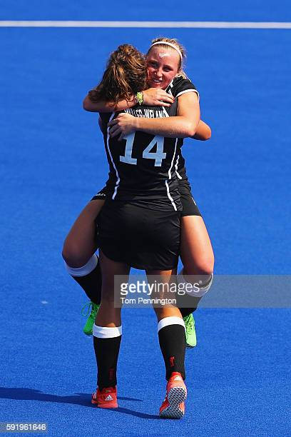 Janne MullerWieland and Nike Lorenz of Germany celebrate defeating New Zealand 21 in the Women's Bronze Medal Match on Day 14 of the Rio 2016 Olympic...